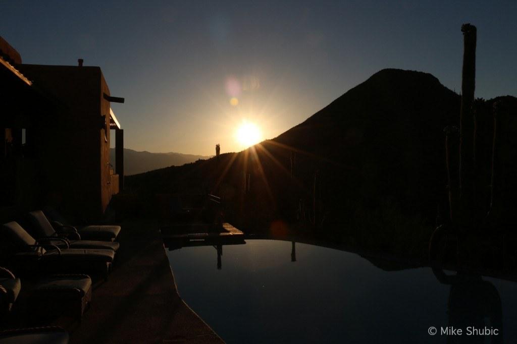 Sunrise over pool at Blue Agave B&B