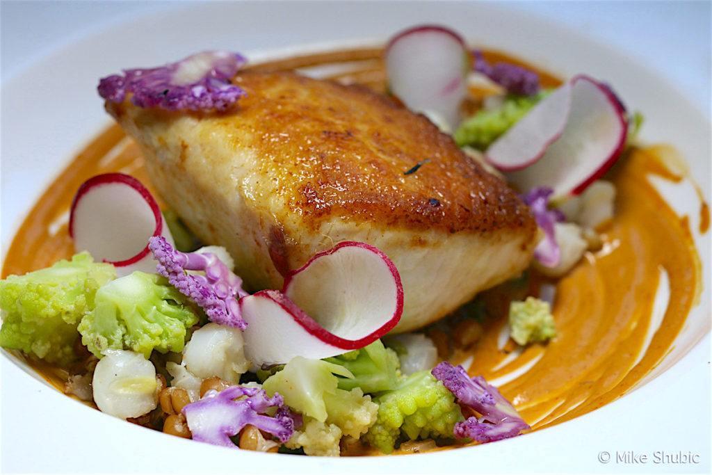 Swordfish - Purple & romanesco cauliflower, toasted farro, leek & garlic mote & smoked pasilla sabyon