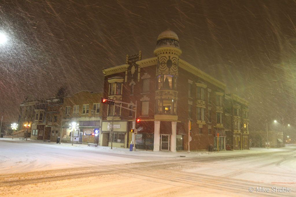 Downtown Janesville while snowing by Mikesroadtrip.com