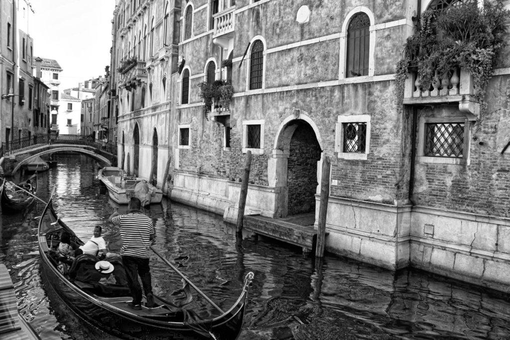 B&W Gondala in Venice by Mike Shubic of MikesRoadTrip.com