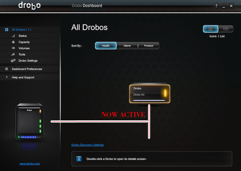 Drobo deshboard showing drobo active