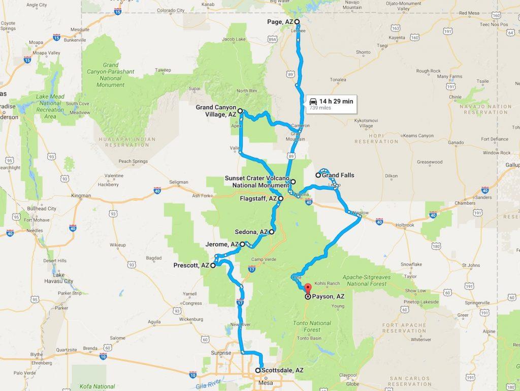 Northern AZ road trip map