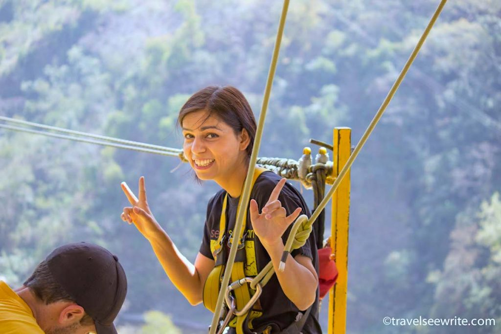 Archana Singh Bungee Jumping in India - Photy by TravelSeeWrite.com