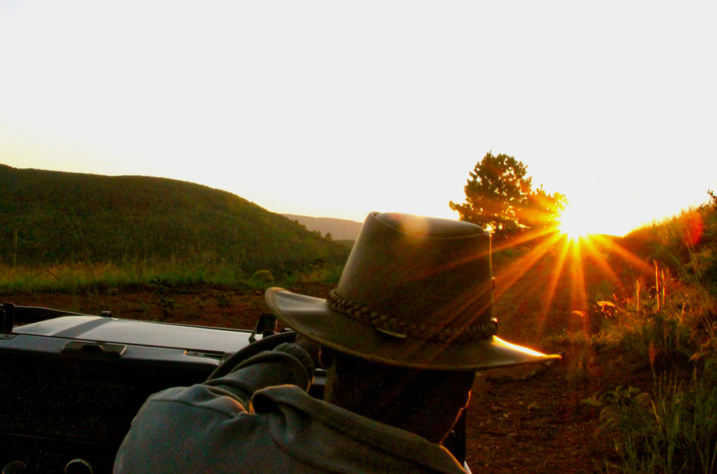 Chasing the sunset in Mlilwane Wildlife Sanctuary in Swaziland, Africa