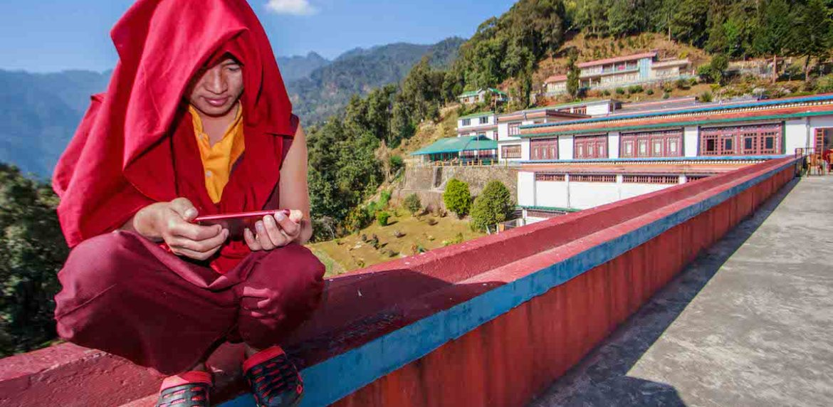 Monk at Gonjang Monastery, Gangtok, Sikkim, India