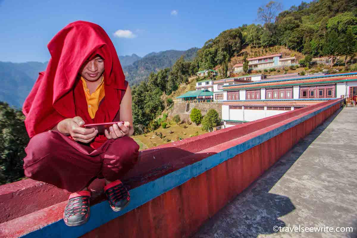 Monk at Gonjang Monastery, Gangtok, Sikkim, India