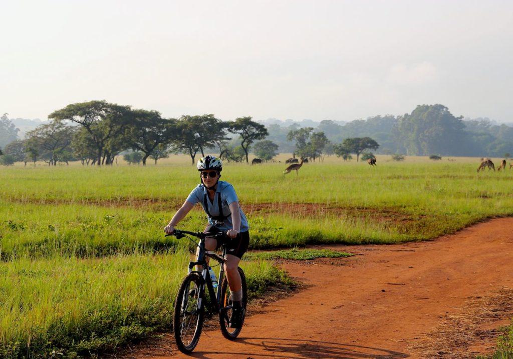 Cycling in Mlilwane Wildlife Sanctuary in Swaziland, Africa