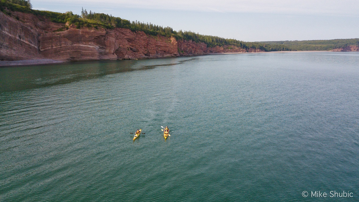 Kayaking in Bay of Fundy aerial photo by MikesRoadTrip.com