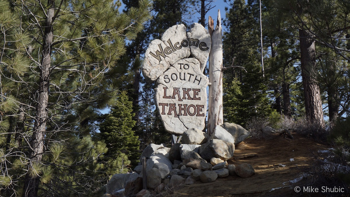 South Lake Tahoe sign by MikesRoadTrip.com