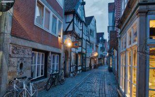 Bremen Germany cobblestone street by MikesroadTrip.com