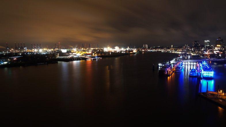 Hamburg Germany at night by MikesroadTrip.com